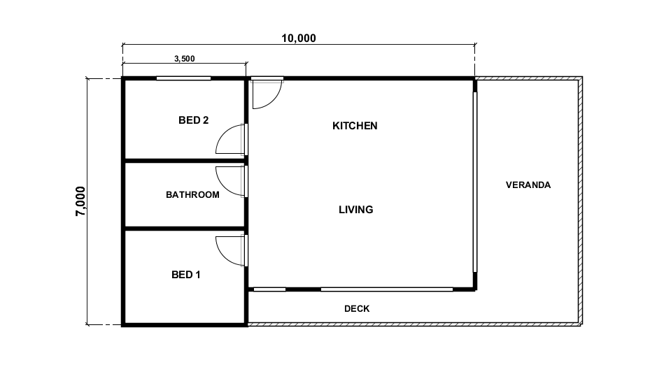 2 bedroom 60m2 Kit Home Naracan by BRIbuild