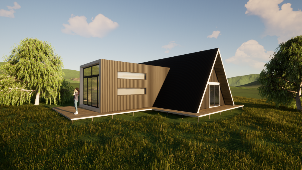the A-Frame kit home with side Extension