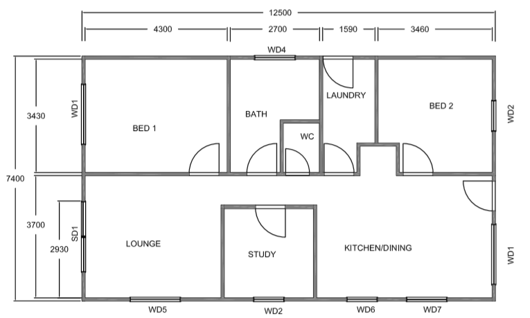 Dawson 2 bedroom 1 study floor plan kit home